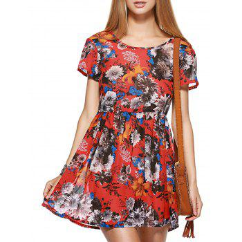 Fashionable Short Sleeve Lace-Up Floral Print Women's Dress