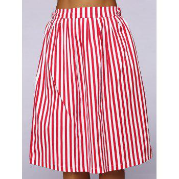 Elastic Waist Striped Color Block Skirt