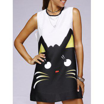 Cartoon Cat Print Mini Swing Dress