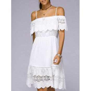 Spaghetti Strap Crocheting White Mini Dress