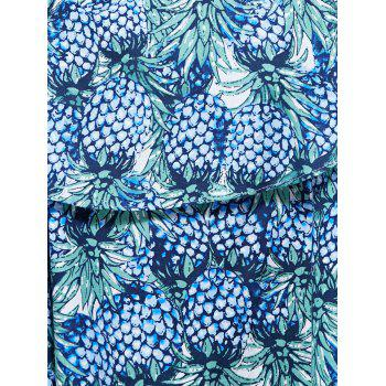 Alluring Pineapple Print Layered Flounce Women's Blouse - BLUE BLUE