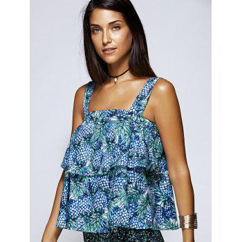 Alluring Pineapple Print Layered Flounce Women's Blouse - BLUE ONE SIZE(FIT SIZE XS TO M)