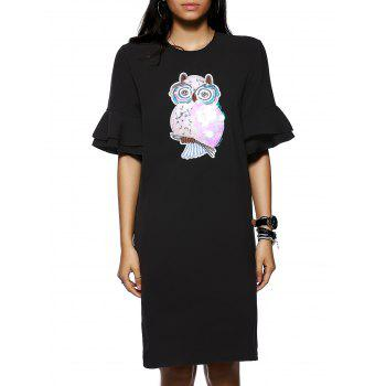 Owl Pattern Sequined Design 1/2 Sleeve Shift Dress
