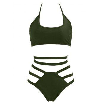 Alluring Halter Hollow Out Solid Color Strappy Women's Bikini Set
