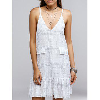 Brief Low Cut Plaid Print Flounced Women's Cami Dress