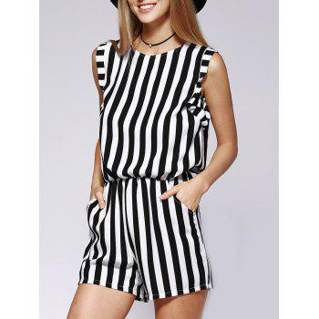 Elegant Sleeveless Striped Fitted Cutout Women's Romper