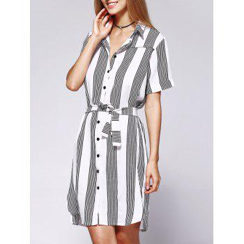 Casual Stripe Loose Fitting Belted Shirt Dress For Women