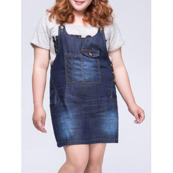 Casual Plus Size Front Pocket Women's Denim Overall Dress