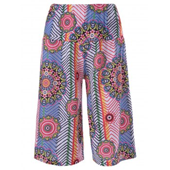 Trendy Ethnic Print Hit Color Pants For Women