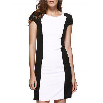OL Color Block Back Slit Slimming Dress For Women