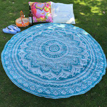 Bohemian Bikini Boho Swimwear Lake Blue Lotus Flower Totem Printed Chiffon Round Beach Throw Scarf
