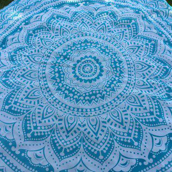 Bohemian Bikini Boho Swimwear Lake Blue Lotus Flower Totem Printed Chiffon Round Beach Throw Scarf - LAKE BLUE