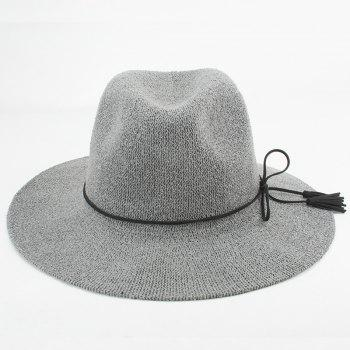 Chic Tassel Pendant Lace-Up Embellished Summer Sunscreen Women's Jazz Hat - GRAY