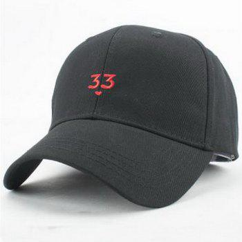 Street Fashion Number 33 and Tiny Heart Embroidery Sunscreen Baseball Hat For Women
