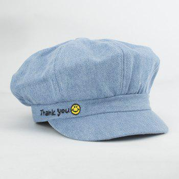 Street Fashion Letters and Smilling Face Embroidery Sunscreen Newsboy Hat For Women