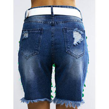 Fashionable Sequined Denim Ripped Shorts Women - BLUE ONE SIZE(FIT SIZE XS TO M)