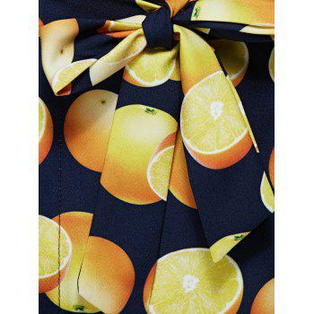 Casual High Low Tank Top and Fruit Print Wrap Skirt Set For Women - YELLOW M