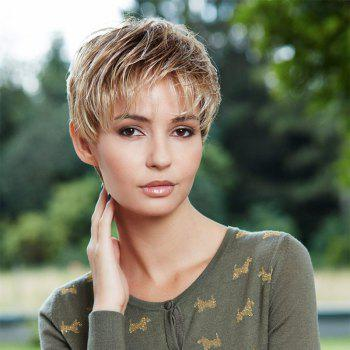 Messy Women's Short Fluffy Mixed Gold Part Bang Synthetic Wig