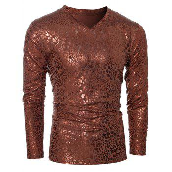 Metal Style V-Neck Long Sleeve Men's T-Shirt