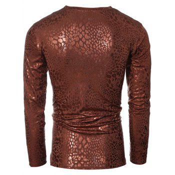 Metal Style V-Neck Long Sleeve Men's T-Shirt - BROWN L