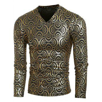 Metal Style V-Neck Geometric Pattern Long Sleeve Men's T-Shirt