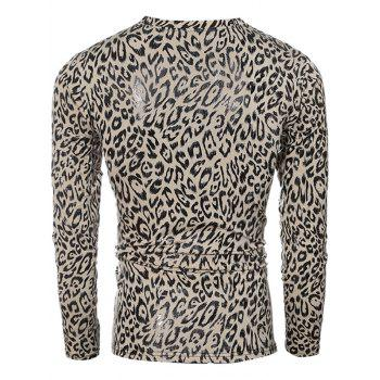 Leopard Pattern V-Neck Long Sleeve Men's T-Shirt - LEOPARD 2XL