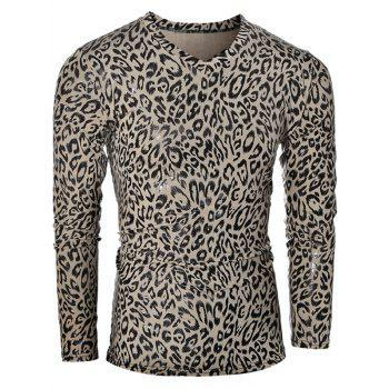 Leopard Pattern V-Neck Long Sleeve Men's T-Shirt