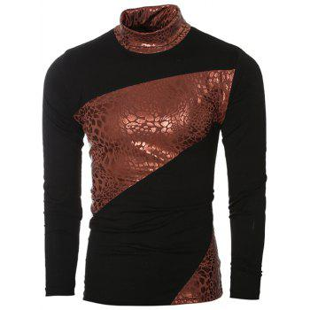 Metal Style Splicing Design Turtle Neck Long Sleeve Men's T-Shirt