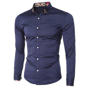 Floral Splicing Design Turn-Down Collar Long Sleeve Men's Shirt - CADETBLUE 2XL
