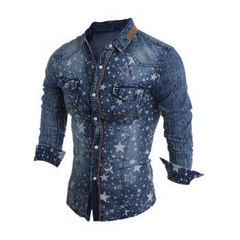 Star Pattern Bleach Wash Turn-Down Collar Long Sleeve Men's Denim Shirt