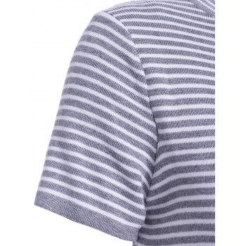 Stylish Women's Round Neck Striped Short Sleeves Knitwear - DEEP GRAY ONE SIZE(FIT SIZE XS TO M)