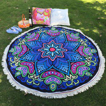 Ethnic Style Bikini Boho Swimwear Eight-Square Flower Print Fringed Round Beach Throw Scarf