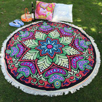 Bikini Boho Eight-Square Flower Print Fringed Red Round Beach Throw Scarf Throw Yoga Mat