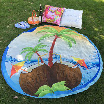 Tropical Style Bikini Boho Swimwear Coconut Tree Chiffon Round Beach Throw Scarf