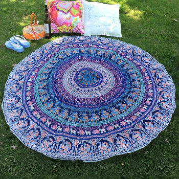 Tribal Style Bikini Boho Indian Elephant Print Thicken Chiffon Round Beach Throw Scarf
