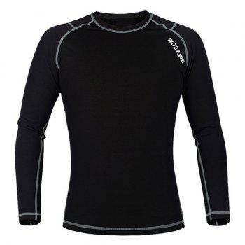 Chic Quality Warmth Thermal Fleece Base Layer Cycling Long Sleeve Jersey For Unisex - BLACK AND GREY XL