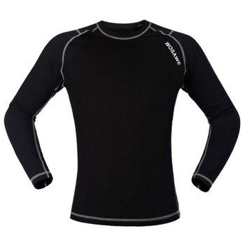 Chic Quality Warmth Thermal Fleece Base Layer Cycling Long Sleeve Jersey For Unisex - BLACK/GREY BLACK/GREY