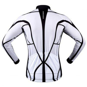 Chic Quality Muscle Pattern Breathable Quick Dry Cycling Long Sleeve Jersey For Unisex - WHITE/BLACK S