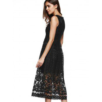 Lace Sheer Wedding Guest Tea Length Dress - BLACK XL