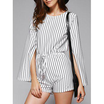 Elegant Women's Striped Cape Sleeve Cut Out Romper
