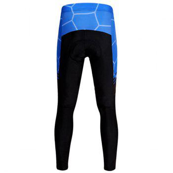 Chic Quality Geometric Pattern Breathable Gel Padded Tight Cycling Pants For Unisex - BLUE/BLACK M
