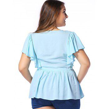 Fashionable Plus Size Opening Thorax Frenum Scoop Neck Dolman Sleeves Blouse For Women - LIGHT BLUE LIGHT BLUE