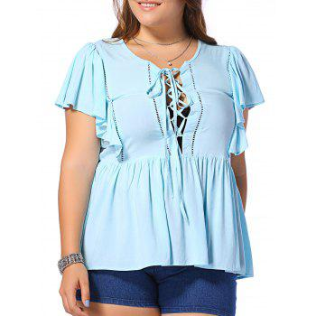 Fashionable Plus Size Opening Thorax Frenum Scoop Neck Dolman Sleeves Blouse For Women