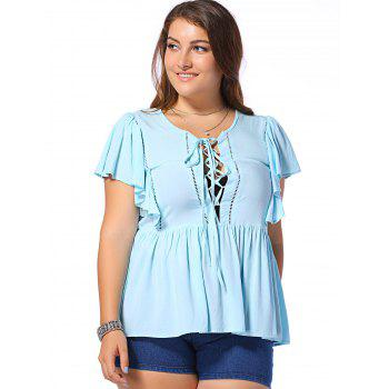 Fashionable Plus Size Opening Thorax Frenum Scoop Neck Dolman Sleeves Blouse For Women - LIGHT BLUE 3XL
