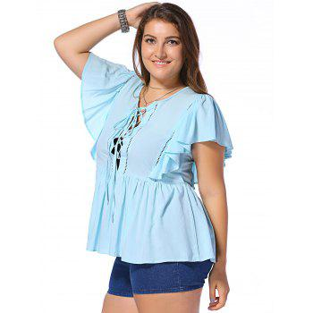 Fashionable Plus Size Opening Thorax Frenum Scoop Neck Dolman Sleeves Blouse For Women - LIGHT BLUE XL