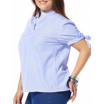 Trendy Women's Plus Size 1/2 Sleeve Striped Bowknot Design Shirt