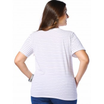 Plus Size Stripe LOVE Graphic Tee - BLUE BLUE