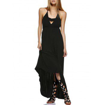 Fashionable Backless Asymmetric Halter Cut-Out Dress For Women