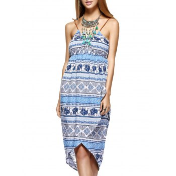 Fashionable Printing Asymmetric Knitted Gallus Dress For Women