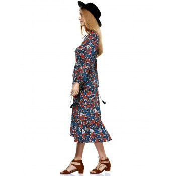 Sweet V-Neck Printing Tassel Flounce Long Sleeves Dress For Women - COLORMIX S